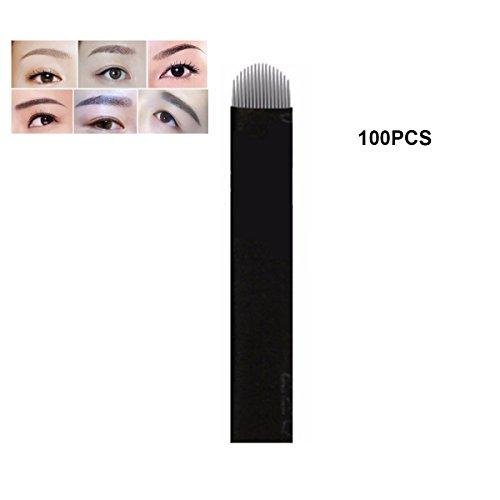 Guapa 100 Pcs U Shape 16 and 18 Black Needles Microblading Blade Permanent Makeup Manual Eyebrow Tattoo Needle (U18)