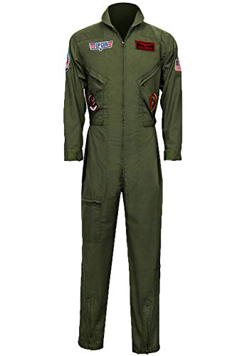 Men's Air Force Fighter Pilot Adult Costume Wingman Jumpsuit Halloween Cosplay Party Suits (Large) -