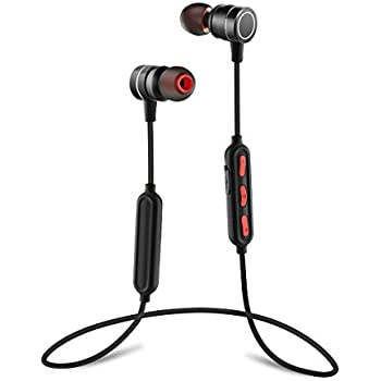 PluStore Bluetooth Headphones HD Stereo Sound Wireless Headsets for Sports Sweatproof Magnetic Earphones with Noise Canceling and Built-in Mic