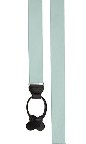 (The Tie Bar 100% Woven Silk Grosgrain Solid Spearmint Loop Style Suspenders)