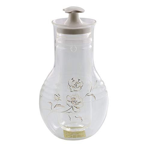 Zen Table Japan Glass Sake Bottle with Cooler Made in Japan - Carnation