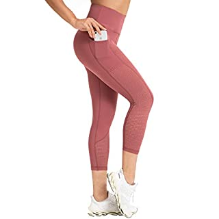 RAYPOSE Womens High Waist Workout Capris Leggings w Pockets Running Capri High Waisted Tummy Control Yoga Pants Non See Through for Women Workout Capri Pink-XXL