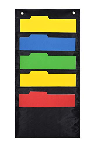 VNOM Fabric Cascading Wall File Organizer, 5 Pocket & 2 Hangers, School Pocket Chart, Wall Hanging File Organizer, Office Pocket Chart for Notebook, Planners, Scrapbooks - Wall or Over Door Mount