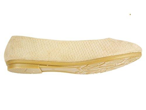 Bailarinas de terciopelo para mujer, casual, diseño con forma de zapatos Beige - beige
