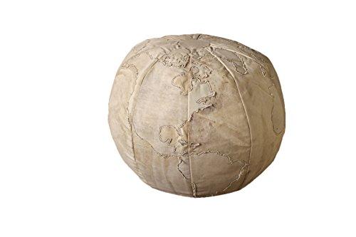 Kalalou Beige Recycled Canvas Globe Pouf by Kalalou