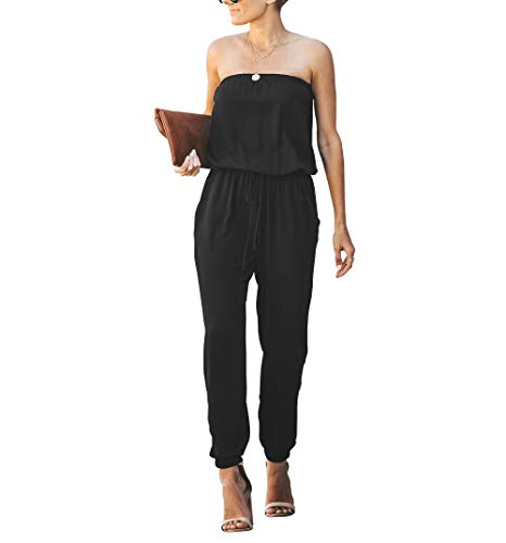 OMEYA Women Jumpsuit Strapless Off Shoulder Elastic Waist Beam Foot Casual Party Playsuit Romper Long Pants with Pockets - Jumpsuit Strapless