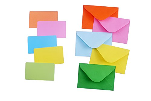Color Envelope 50 Pcs with Color Card 50 Pcs, Suitable for Gift Boxes, Packaging, Birthday Parties, Weddings, Etc.(4.4