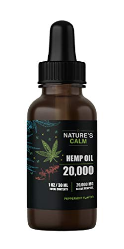 Hemp Oil Drops for Pain & Stress Relief - 20,000mg of Organic Hemp Extract Supplement - Made in USA