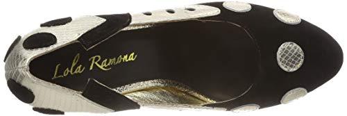 Donna Stiletto black Lola Tacco gold 80 Punta Chiusa Scarpe Ramona Col Nero F0q4B