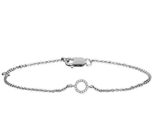 Or Blanc 14 ct Bracelet Diamant en forme de rond, 0.05 Ct Diamant, GH-SI, 1.75 grammes.
