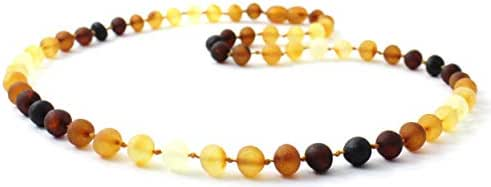 Unpolished Amber Necklace - Adult Size (Women and Men) - 17.5 inches (45 cm) - Modern Rainbow Color - Raw Baltic Amber Beads - BoutiqueAmber (17.5 inches)