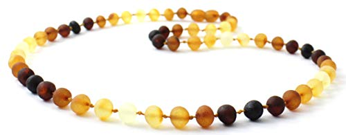 BoutiqueAmber Unpolished Amber Necklace - Adult Size (Women and Men) - 19.5 inches (50 cm) - Modern Rainbow Color - Raw Baltic Amber Beads (19.5 inches)
