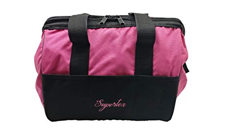 Supertex Ladies Pink Tool Bag, 12-Inch, with 20 Storage Pockets | Multi-Purpose Storage Bag 3611 with Wide Mouth and Zippered Top