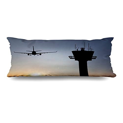 Ahawoso Body Pillows Cover 20x60 Inches Amsterdam Orange Traffic Control Tower Red Landing Air Airport Plane Aviation Flight Departure Decorative Zippered Pillow Case Home Decor Pillowcase