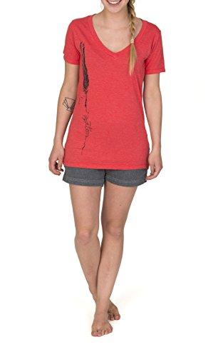Burton T-Shirt WB Feather V Rpet - Camiseta / camisa deportiva para mujer Rojo - Bittersweet Heather