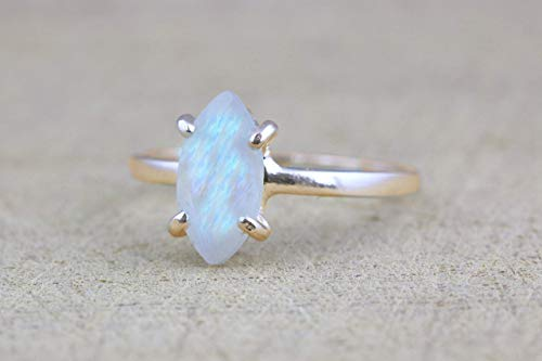 Rainbow moonstone ring,marquise stone ring,gemstone ring,stack rings,delicate rings,multi color rings,custom rings