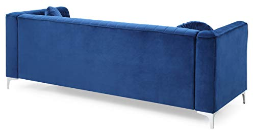 Glory Furniture Delray Sofa, Navy Blue. Living Room Furniture, 3 Seater - Velvet- soft velvet fabric adds style and comfort to this stunning collection. Chrome legs- Top Quality chrome that resists fading and tarnishing adds a modern touch to this already beautiful piece. Throw pillows- plush round pillows are included with every Glory Furniture Delray Item for extra comfort. - sofas-couches, living-room-furniture, living-room - 3176myOC3lL -