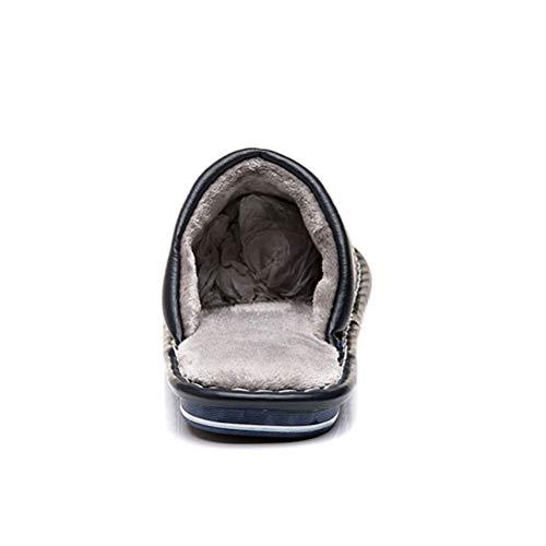 Hiver Automne Mousse Pantoufles À Homme Supérieur Confort Femme Antidérapantes Pour Chaussons En Coton Bleu Doublées Mémoire cuir Peluche pIqHO6qx