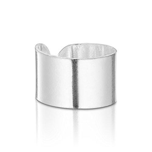 925 Sterling Silver Wide Round Silver Top Ear Cuff Ear For 1 Ear Earring by BELLETTOJEWELRY