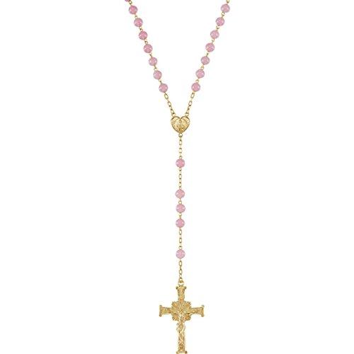 Roxx Fine Jewelry Rosary Necklace 14K Gold Filled Rose Quartz Bead Ornate Crucifix