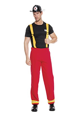 Music Legs Men's Firefighter Hero, Red/Black, Medium (Mens Sexy Firefighter Costume)