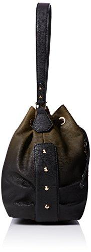 LIU JO LUCCIOLA BASKET BAG N66101E0027 Green (Green Military/Black)