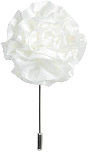 Stacy Adams - Pin de solapa con flor para hombre, Blanco, Talla única