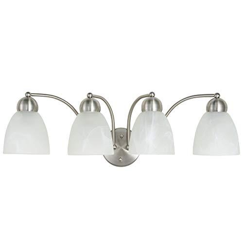 Kingbrite 4-Light E26 Vanity Lights Fixture for Bathroom, Brushed Nickel, Alabaster Glass