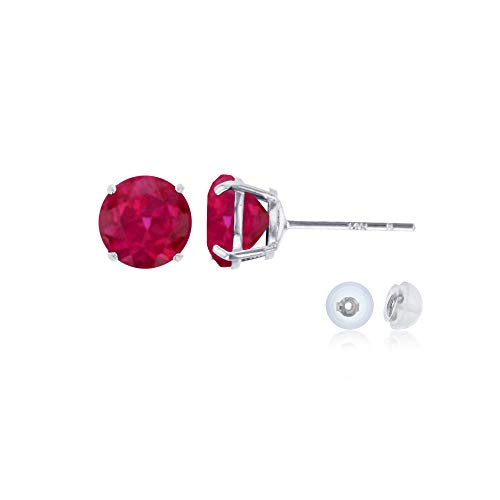 Genuine 14K Solid White Gold 6mm Round Created Ruby July Birthstone Stud - White Baby Jewelry Gold