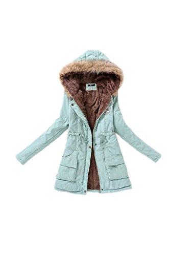 de YACUN Mujeres capucha de Parka invierno Abrigo con sudaderas Grayblue las Espesar chaqueta EqEHdrnw