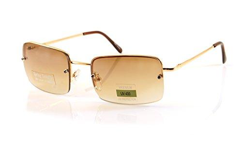 (FBL Minimalist Medium Rectangular Sunglasses Clear Eyewear Spring Hinge A173 A174 (Gold/ Brown Gr))