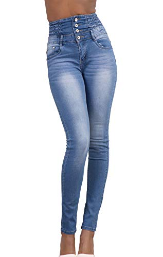 Femme Casual Haute Taille Jeans avec Bouton Jeune Mode Skinny Denim Pantalons Crayon Longue Pants Bleu Clair