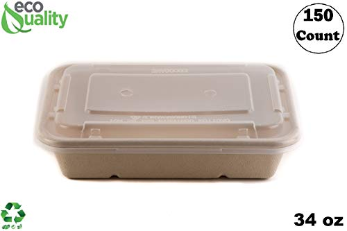 [150 Pack] 34oz Compostable Eco Friendly Container Trays with Lids - Rectangular Oblong Tree Free Sugarcane Bagasse Meal Prep Bento Boxes Take Out Catering Microwavable Deep Container by EcoQuality