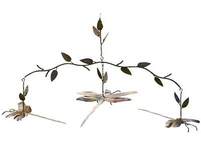 - Ancient Graffiti Dragonfly Branch Mobile, Flamed Copper