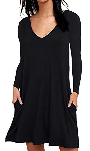 Tank Sleeve up Dress BISHUIGE Women Plain Pleated Dresses Casual T Long Summer Cover Shirt Beach black 8P6qwT78H