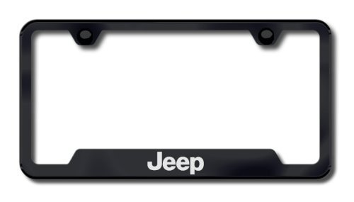 Au-Tomotive Gold, INC. Jeep Black Stainless Steel License Plate Frame, 12