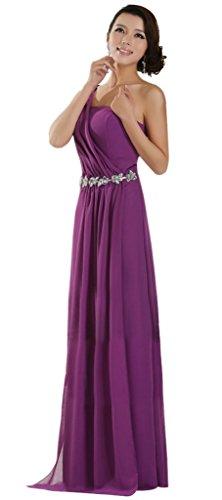 Drasawee Une Robe De Demoiselle D'honneur En Mousseline De Soie Qui Coule Épaule Robes Formelles De La Soirée Violette