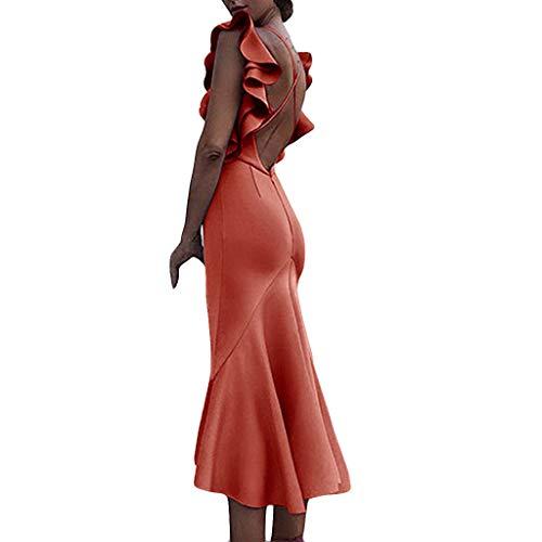(✔ Hypothesis_X ☎ Women Sexy Long Dresses for Party Backless Flounce V-Neck Buttock Dress Beach Long Dress Orange)