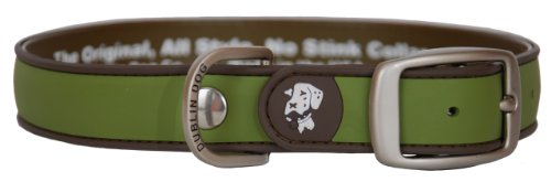 Dublin Dog Waterproof Dog Collar, Medium 13 inches - 18 inches, Olive Brown
