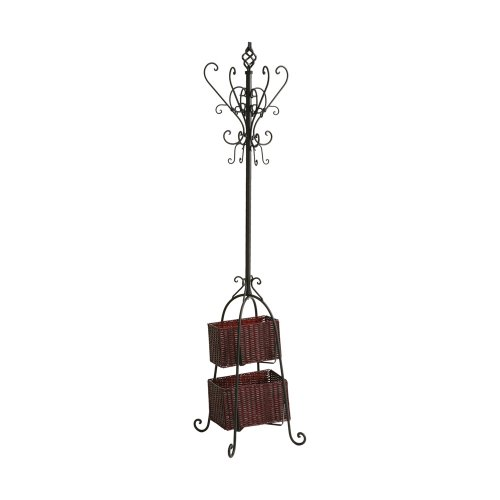 Scroll Coat - SEI Metal Scroll Hall Coat Tree with 2 Rattan Storage Baskets, Black