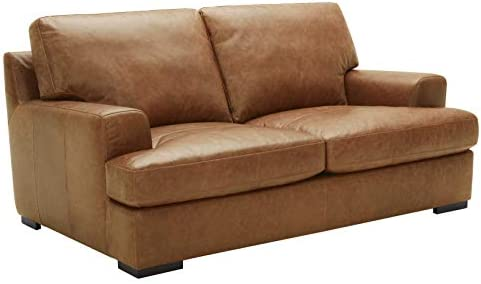 Amazon Brand Stone Beam Lauren Down-Filled Oversized Leather Loveseat