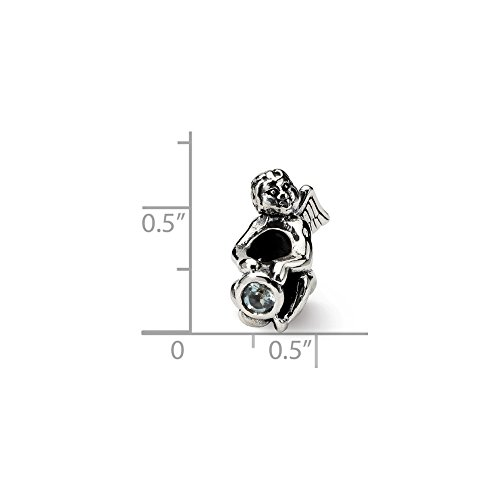 - Solid .925 Sterling Silver Reflections March CZ Antiqued Bead 16.36 mm
