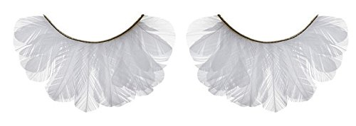 Zinkcolor White Feather False Eyelashes F131 Dance Halloween Cheerleader Costume (White Feather Lashes)