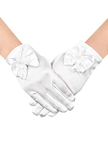 Chuangdi Flower Girl Gloves Short Princess Gloves Bow Tie Gloves Women Faux Pearl Gloves for Wedding Party First Communion (Satin Type, ()
