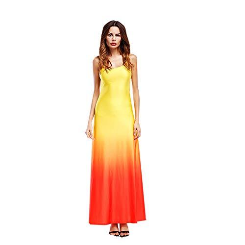TOTOD Dress - Womens Sleeveless Bohemian Tie-Dye Illusion Print Racerback Long Tank Beach -