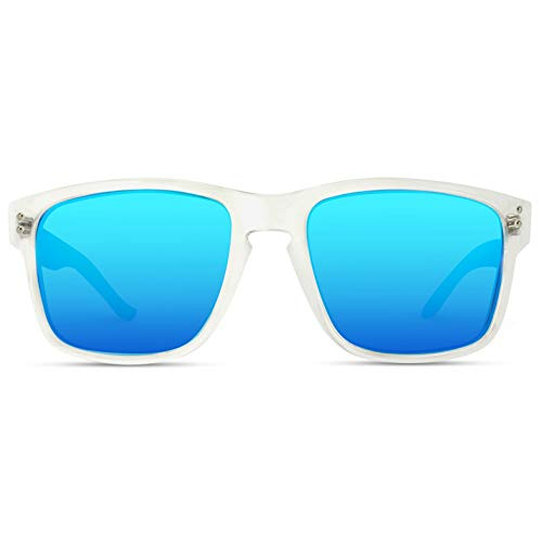 WearMe Pro - Premium Polarized Mirror Lens Classic Square Style Sunglasses (Clear Frame/Mirror Blue Lens, ()