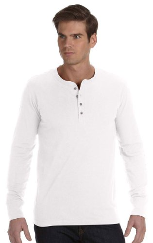 Button Canvas (Bella + Canvas Mens Long-Sleeve Jersey Henley (3150) -WHITE -M)