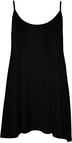 WearAll Plus Size Women's Strappy Swing Vest Top - Black - US 16-18 (UK 20-22)