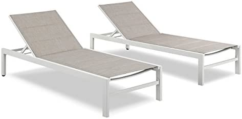 Ulax Furniture Patio Outdoor Aluminum Chaie Lounge Chair Adjustable Recliner with Wheels and Quick Dry Foam Set of 2, Beige