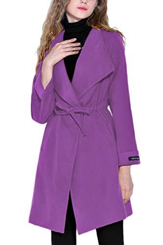 Purple Transition Printemps Femme Cordon De Coat Taille Manche Manteau Spcial Vtements Uni Style lgant Grande Loisir Long Automne Serrage Manches De D'Extrieur Outwear Legere 5xIfqg